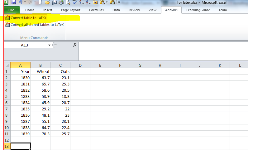 Converting tables from Excel 2010 to LaTeX using excel2latex