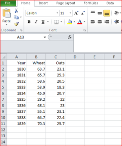 Orginal Excel 2010 table