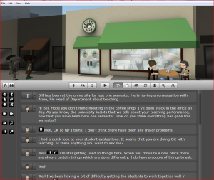 Screenshot showing the xtranormal dialogue and set.